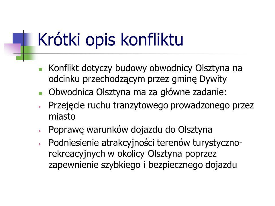 Krótki opis konfliktu Konflikt dotyczy budowy obwodnicy Olsztyna na odcinku przechodzącym przez gminę Dywity.