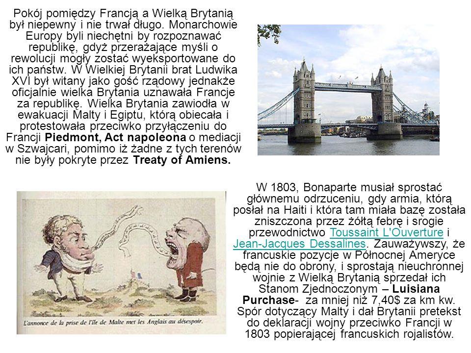 Pokój pomiędzy Francją a Wielką Brytanią był niepewny i nie trwał długo. Monarchowie Europy byli niechętni by rozpoznawać republikę, gdyż przerażające myśli o rewolucji mogły zostać wyeksportowane do ich państw. W Wielkiej Brytanii brat Ludwika XVI był witany jako gość rządowy jednakże oficjalnie wielka Brytania uznawała Francje za republikę. Wielka Brytania zawiodła w ewakuacji Malty i Egiptu, którą obiecała i protestowała przeciwko przyłączeniu do Francji Piedmont, Act napoleona o mediacji w Szwajcari, pomimo iż żadne z tych terenów nie były pokryte przez Treaty of Amiens.