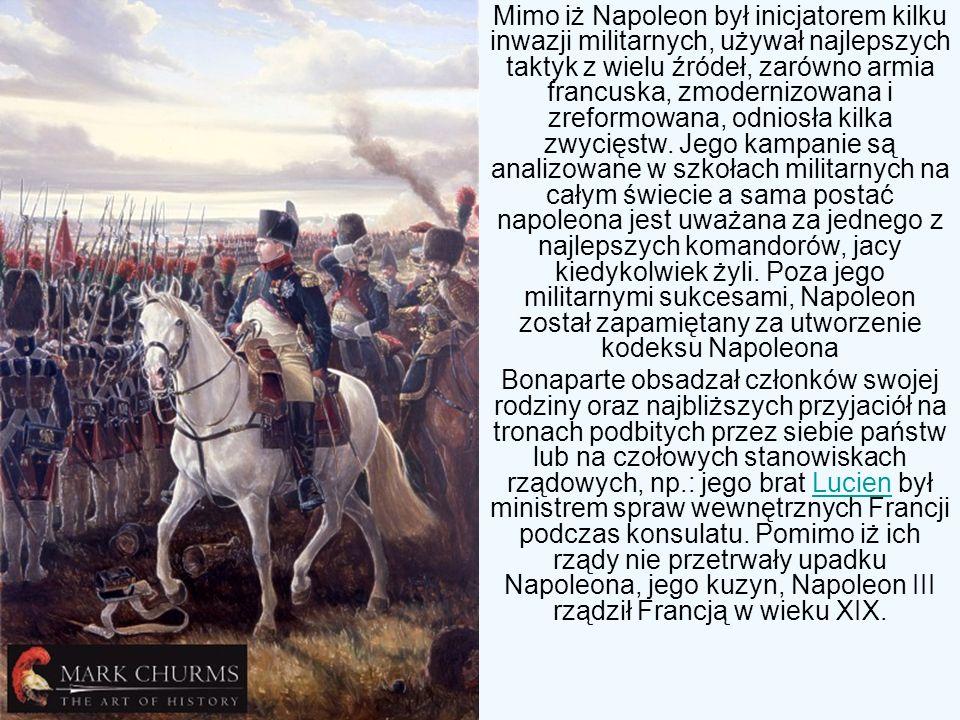 Mimo iż Napoleon był inicjatorem kilku inwazji militarnych, używał najlepszych taktyk z wielu źródeł, zarówno armia francuska, zmodernizowana i zreformowana, odniosła kilka zwycięstw. Jego kampanie są analizowane w szkołach militarnych na całym świecie a sama postać napoleona jest uważana za jednego z najlepszych komandorów, jacy kiedykolwiek żyli. Poza jego militarnymi sukcesami, Napoleon został zapamiętany za utworzenie kodeksu Napoleona
