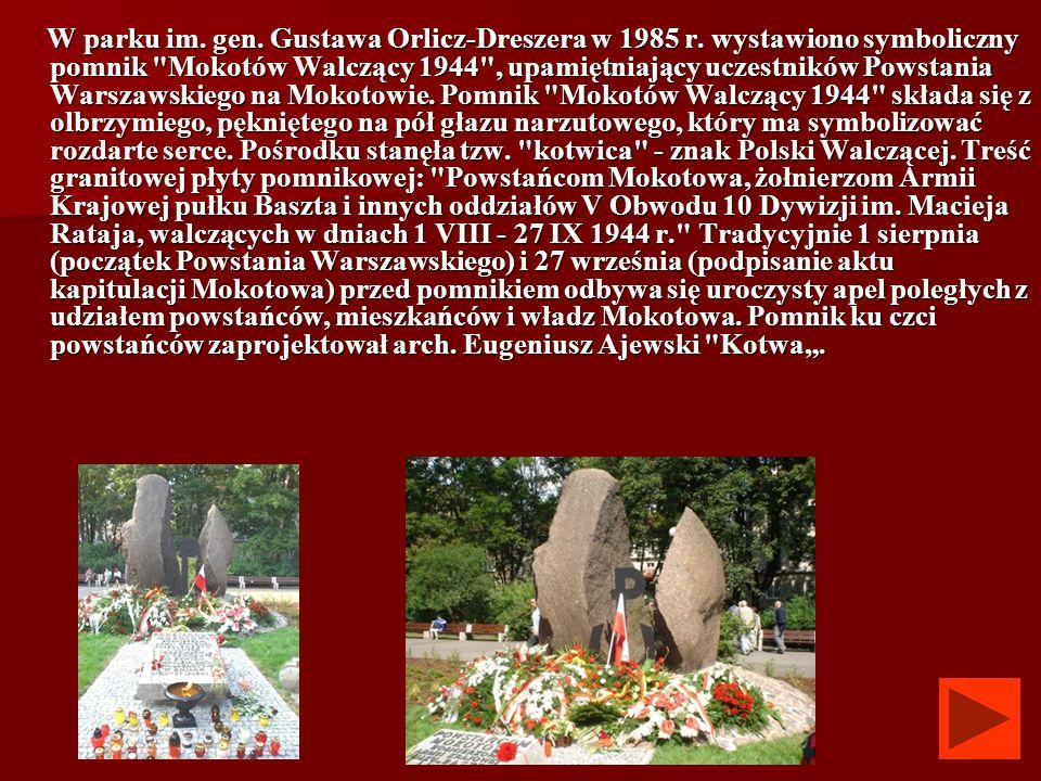 W parku im. gen. Gustawa Orlicz-Dreszera w 1985 r
