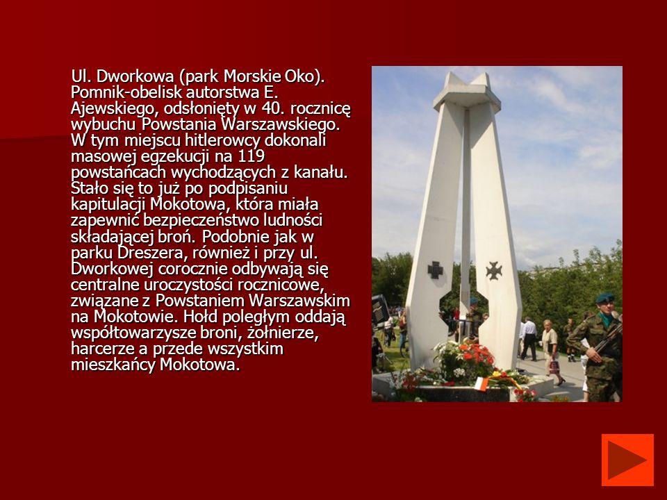Ul. Dworkowa (park Morskie Oko). Pomnik-obelisk autorstwa E