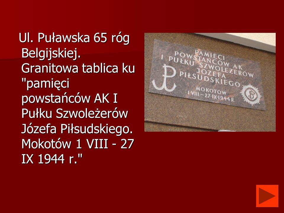 Ul. Puławska 65 róg Belgijskiej