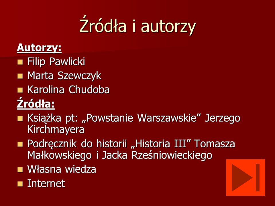 Źródła i autorzy Autorzy: Filip Pawlicki Marta Szewczyk