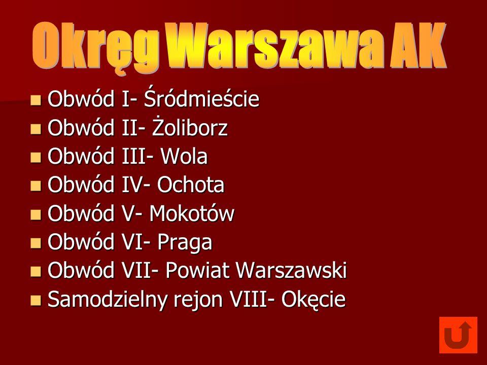 Okręg Warszawa AK Obwód I- Śródmieście Obwód II- Żoliborz