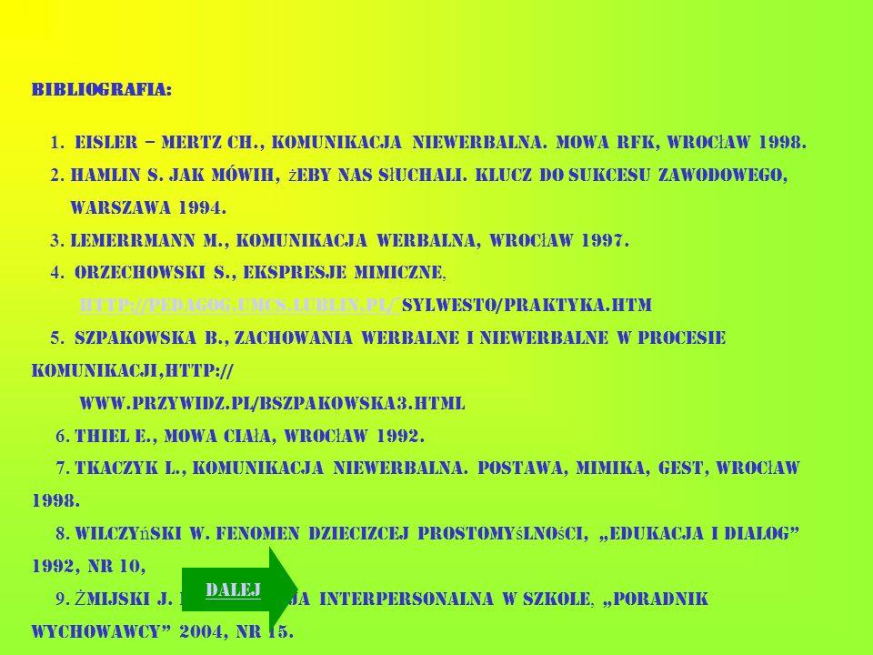 BIBLIOGRAFIA: 1. Eisler – Mertz Ch., Komunikacja niewerbalna. Mowa rąk, Wrocław 1998.