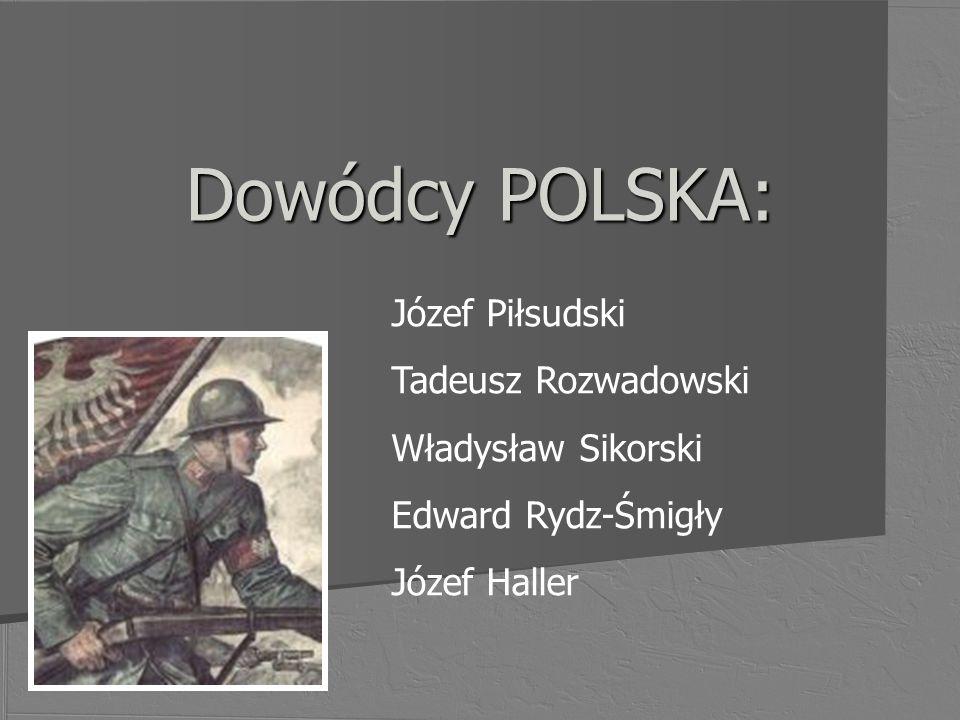 Dowódcy POLSKA: Józef Piłsudski Tadeusz Rozwadowski Władysław Sikorski