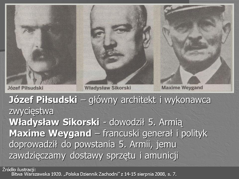 Józef Piłsudski – główny architekt i wykonawca zwycięstwa Władysław Sikorski - dowodził 5. Armią Maxime Weygand – francuski generał i polityk doprowadził do powstania 5. Armii, jemu zawdzięczamy dostawy sprzętu i amunicji