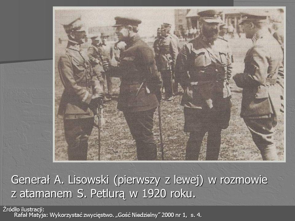 Generał A. Lisowski (pierwszy z lewej) w rozmowie z atamanem S