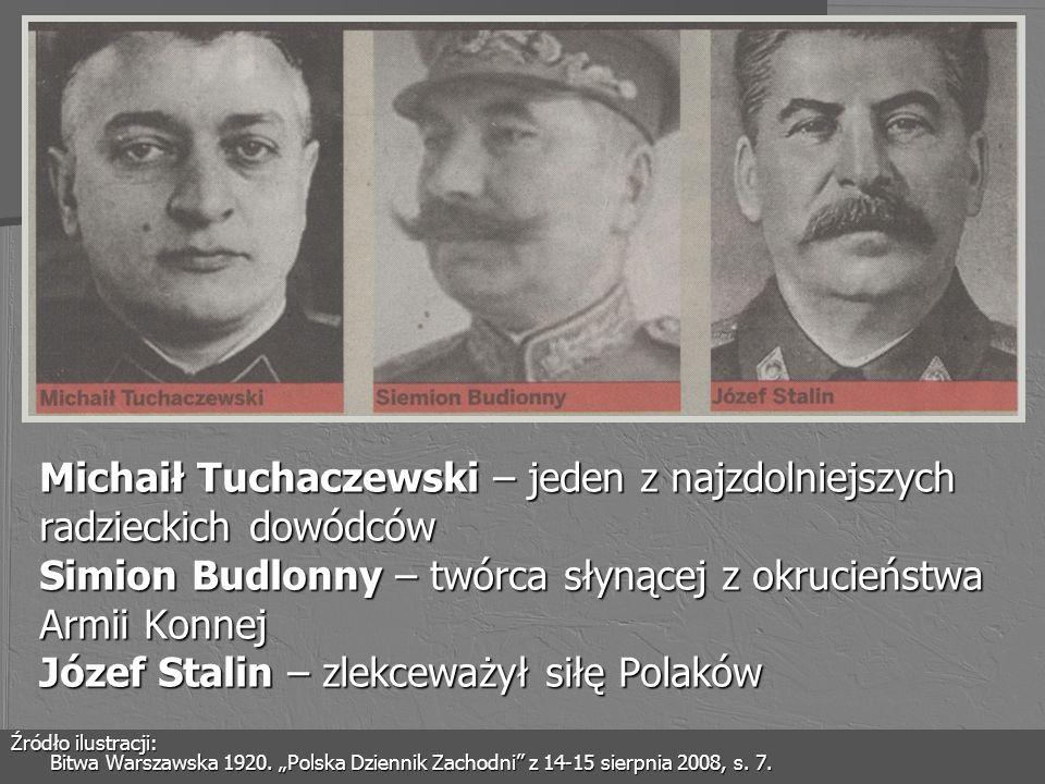Michaił Tuchaczewski – jeden z najzdolniejszych radzieckich dowódców Simion Budlonny – twórca słynącej z okrucieństwa Armii Konnej Józef Stalin – zlekceważył siłę Polaków