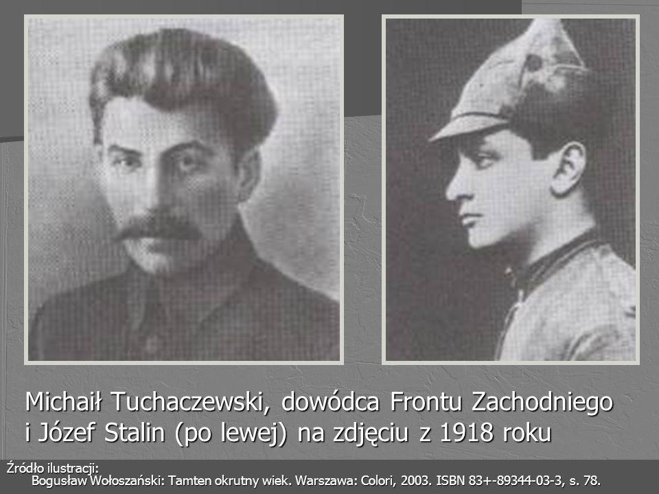 Michaił Tuchaczewski, dowódca Frontu Zachodniego i Józef Stalin (po lewej) na zdjęciu z 1918 roku
