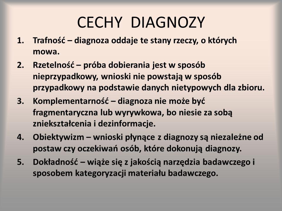 CECHY DIAGNOZY Trafność – diagnoza oddaje te stany rzeczy, o których mowa.