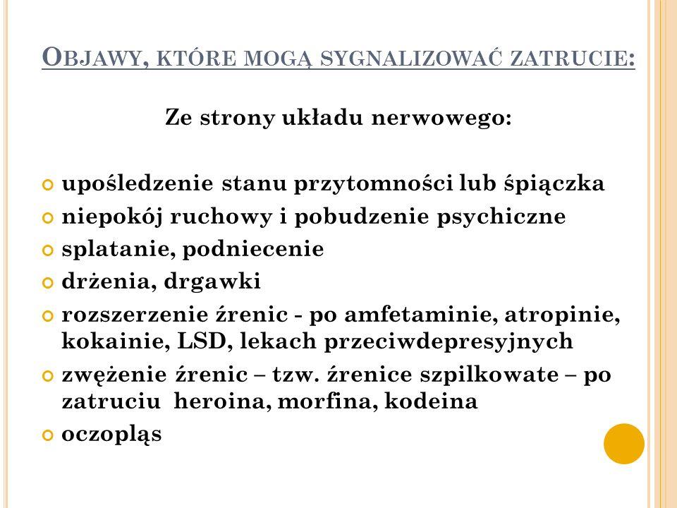 Objawy, które mogą sygnalizować zatrucie: