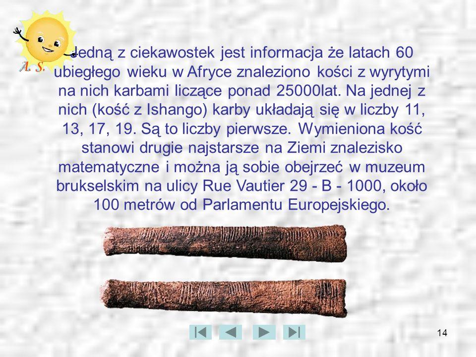 Jedną z ciekawostek jest informacja że latach 60 ubiegłego wieku w Afryce znaleziono kości z wyrytymi na nich karbami liczące ponad 25000lat.