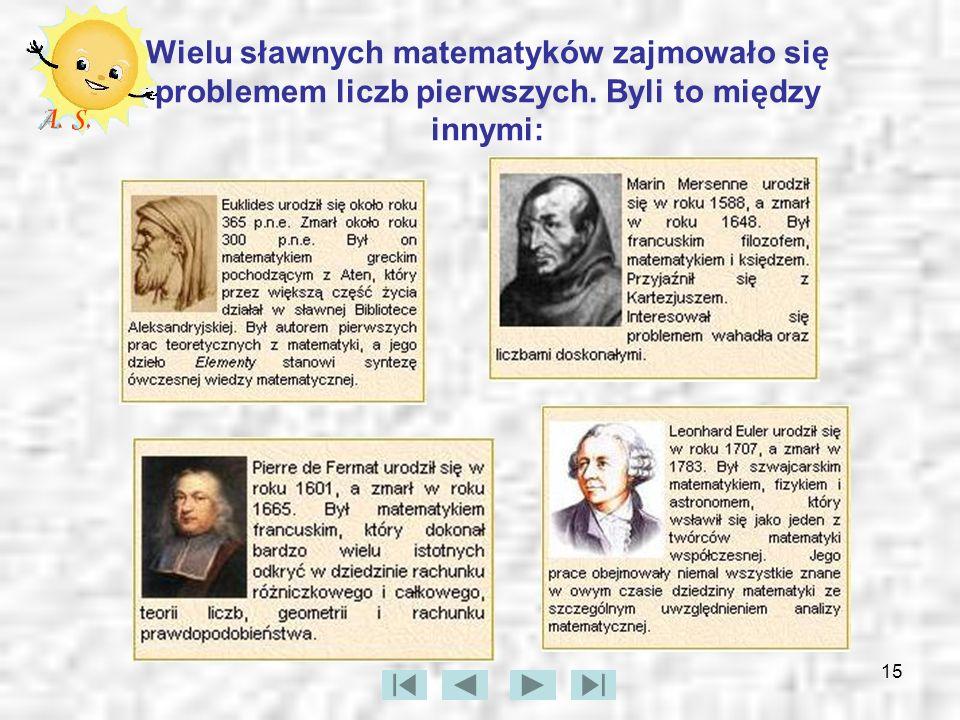 Wielu sławnych matematyków zajmowało się problemem liczb pierwszych