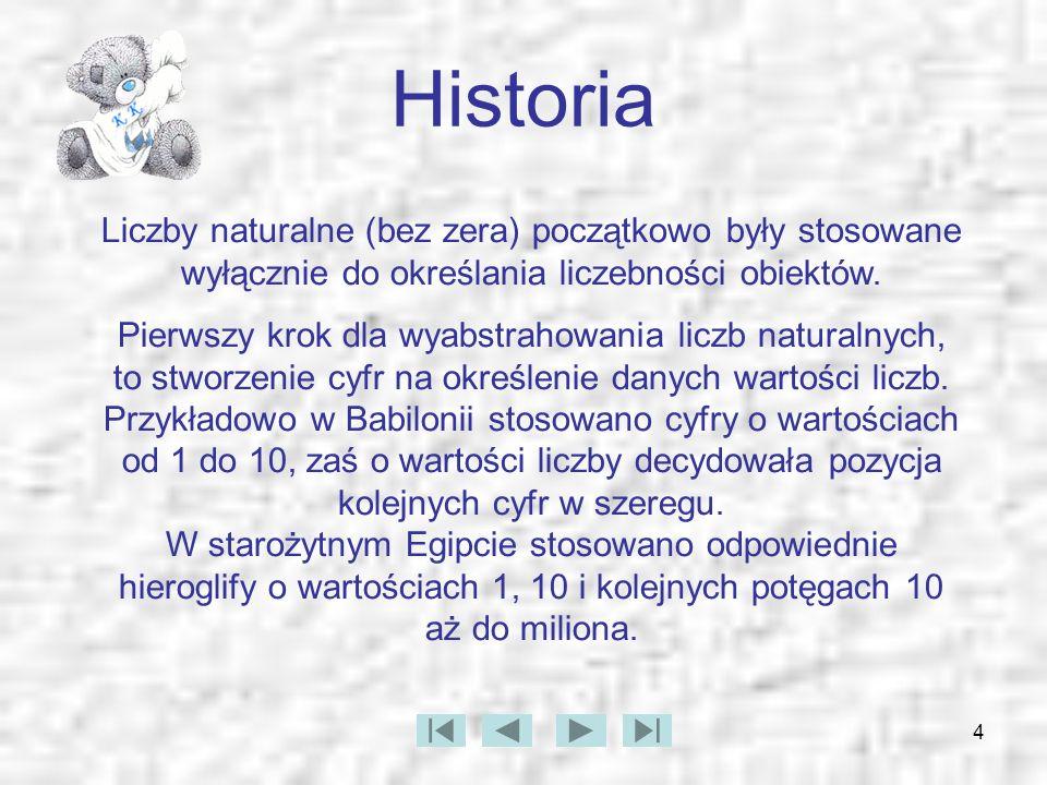 Historia Liczby naturalne (bez zera) początkowo były stosowane wyłącznie do określania liczebności obiektów.