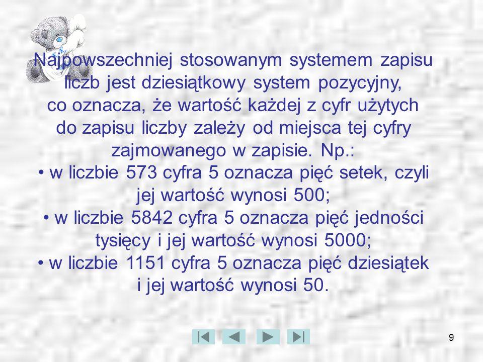 Najpowszechniej stosowanym systemem zapisu liczb jest dziesiątkowy system pozycyjny, co oznacza, że wartość każdej z cyfr użytych do zapisu liczby zależy od miejsca tej cyfry zajmowanego w zapisie. Np.: