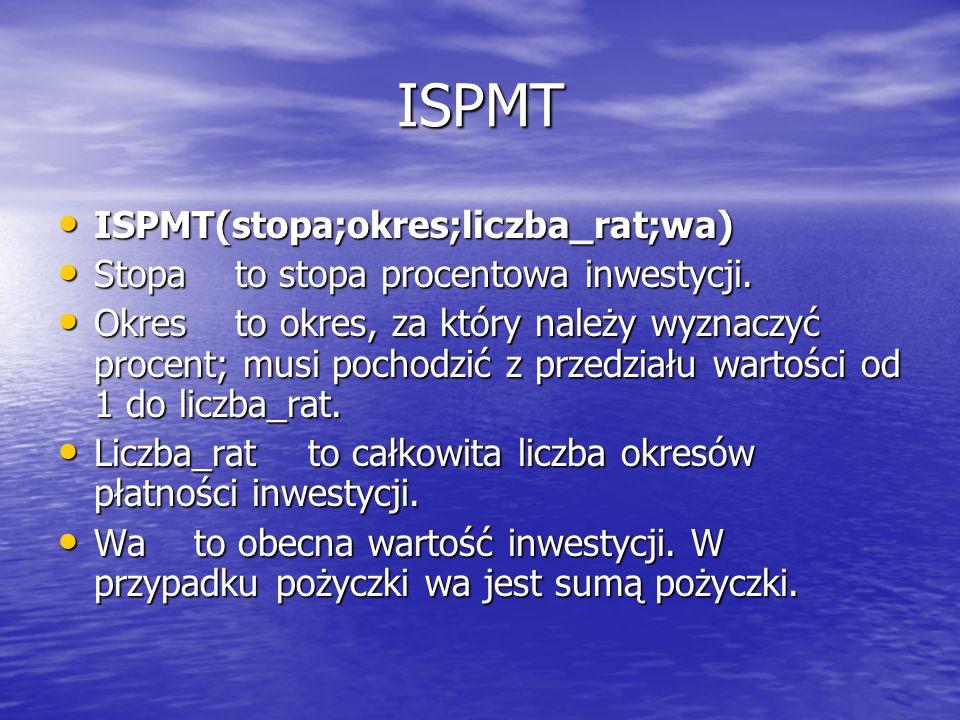 ISPMT ISPMT(stopa;okres;liczba_rat;wa)