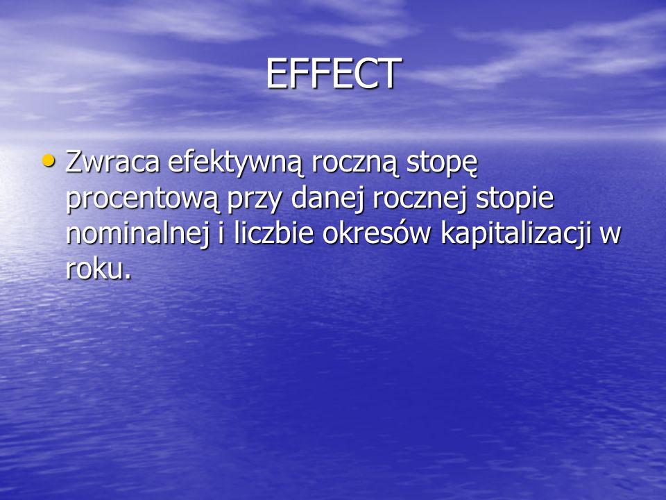 EFFECT Zwraca efektywną roczną stopę procentową przy danej rocznej stopie nominalnej i liczbie okresów kapitalizacji w roku.