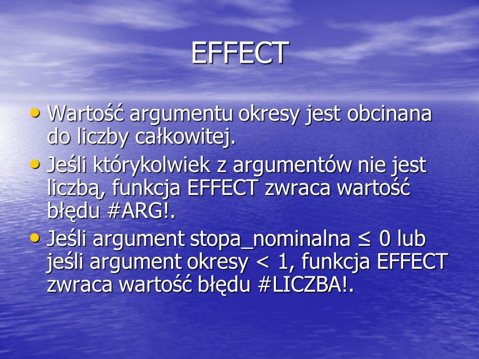 EFFECT Wartość argumentu okresy jest obcinana do liczby całkowitej.