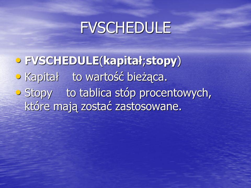 FVSCHEDULE FVSCHEDULE(kapitał;stopy) Kapitał to wartość bieżąca.