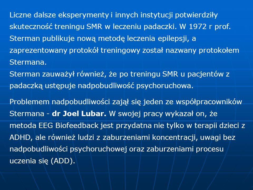 Liczne dalsze eksperymenty i innych instytucji potwierdziły skuteczność treningu SMR w leczeniu padaczki. W 1972 r prof. Sterman publikuje nową metodę leczenia epilepsji, a zaprezentowany protokół treningowy został nazwany protokołem Stermana. Sterman zauważył również, że po treningu SMR u pacjentów z padaczką ustępuje nadpobudliwość psychoruchowa.