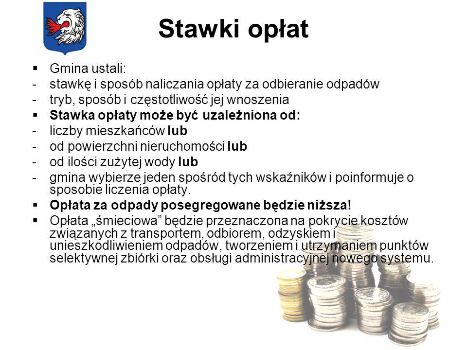 Stawki opłat Gmina ustali: