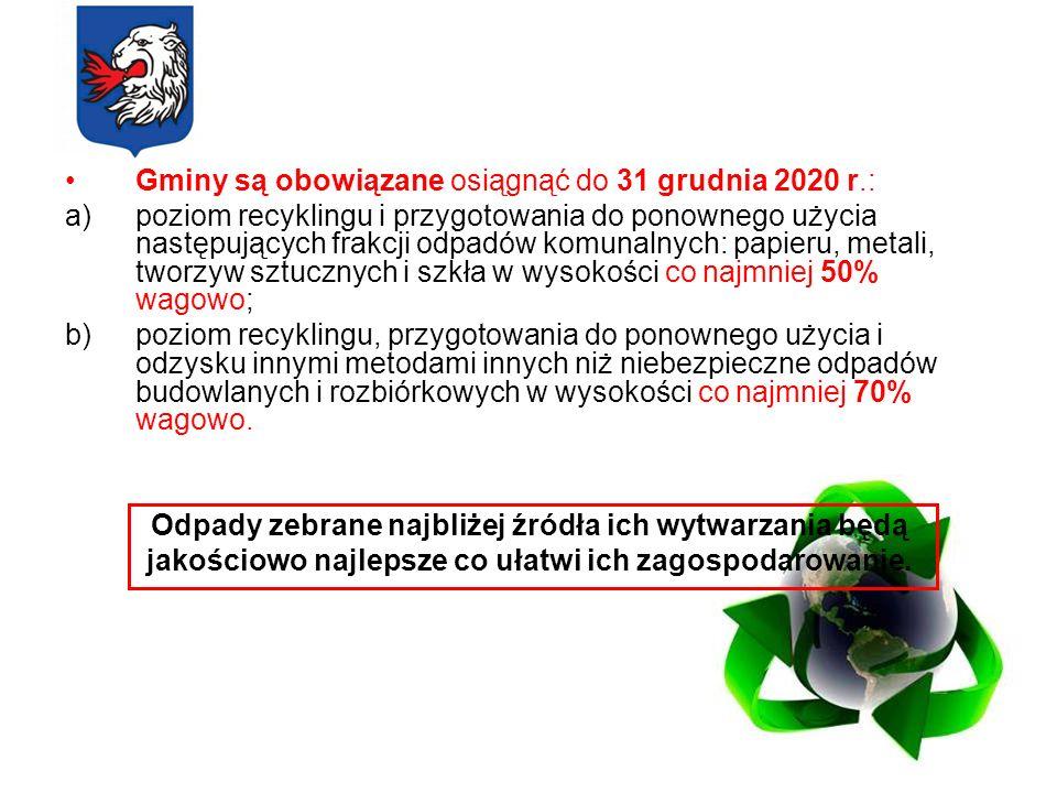 Gminy są obowiązane osiągnąć do 31 grudnia 2020 r.: