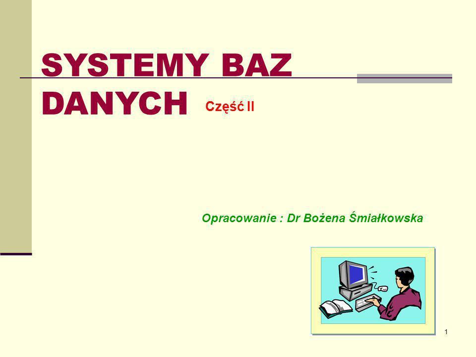 SYSTEMY BAZ DANYCH Część II Opracowanie : Dr Bożena Śmiałkowska