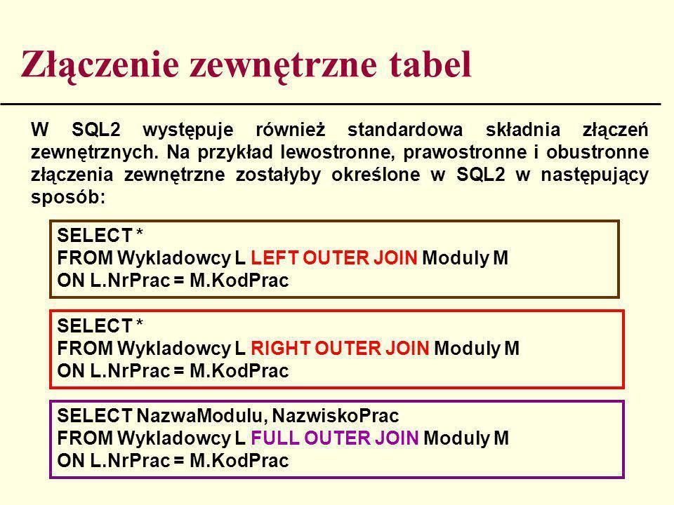 Złączenie zewnętrzne tabel