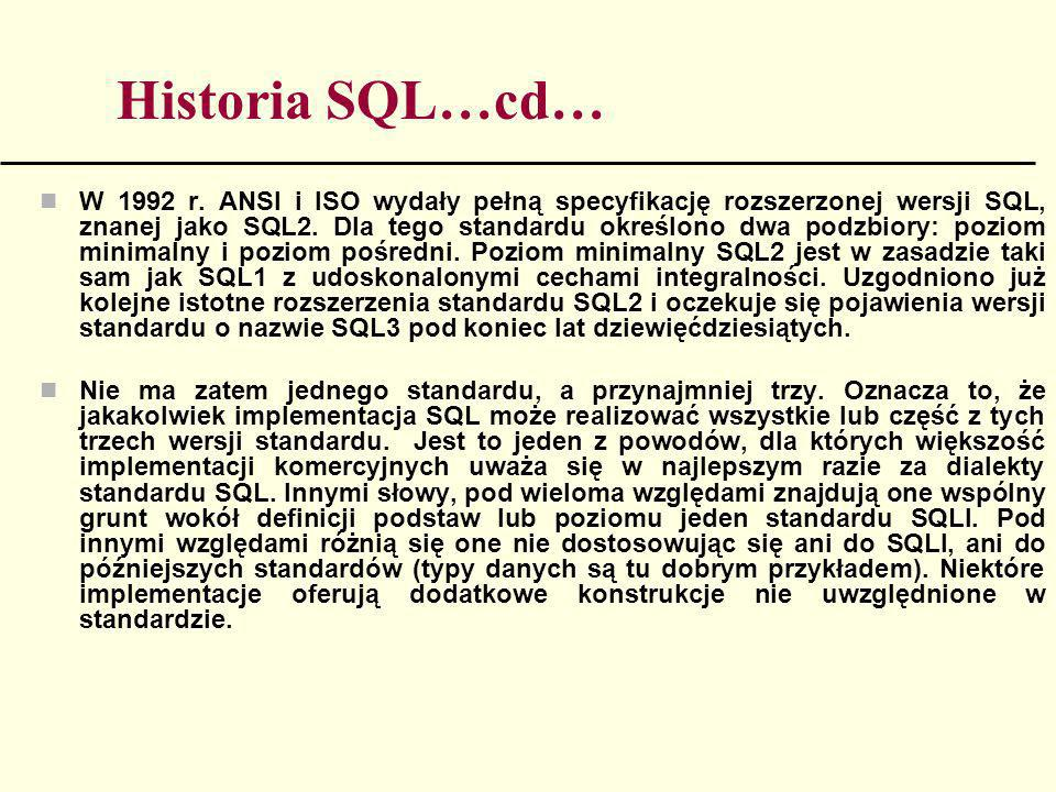 Historia SQL…cd…