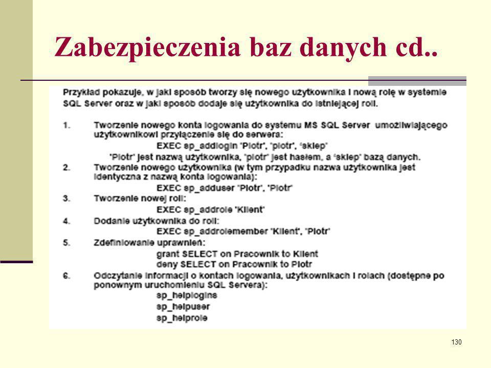 Zabezpieczenia baz danych cd..