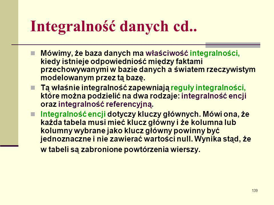 Integralność danych cd..
