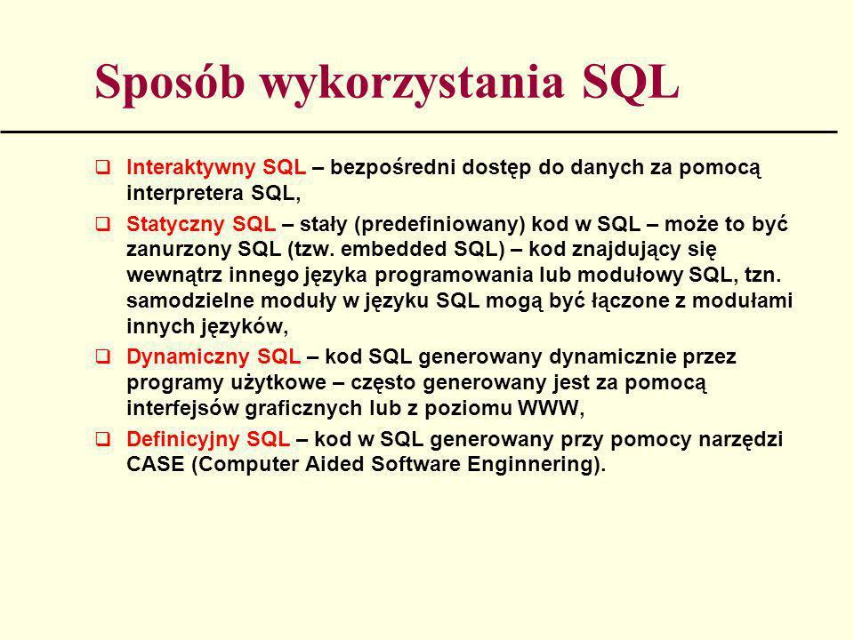 Sposób wykorzystania SQL