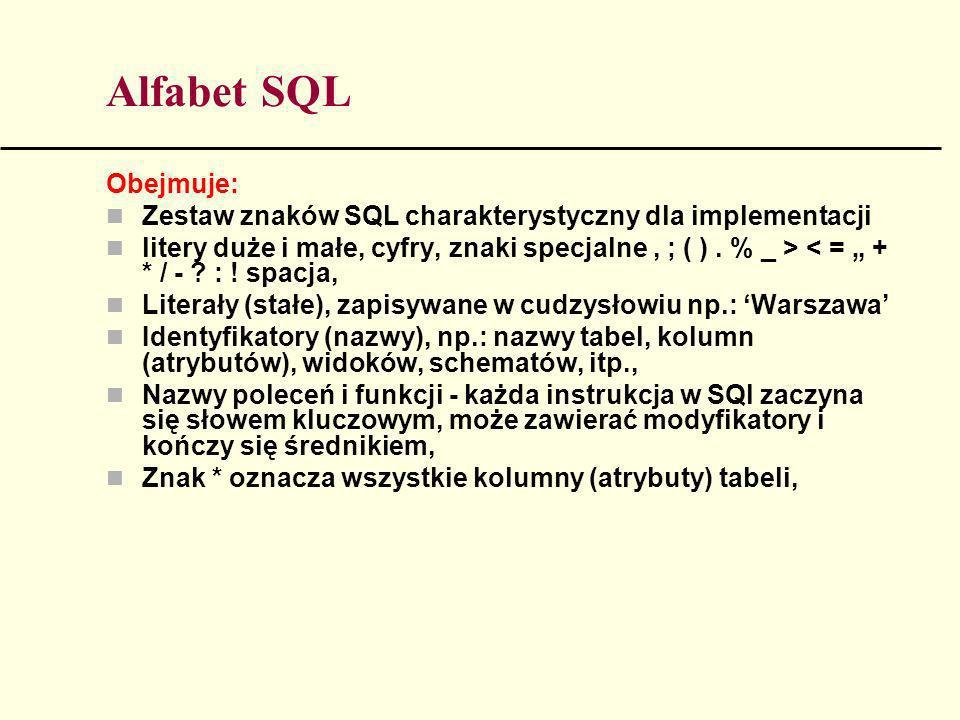 Alfabet SQL Obejmuje: Zestaw znaków SQL charakterystyczny dla implementacji.