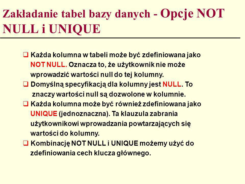 Zakładanie tabel bazy danych - Opcje NOT NULL i UNIQUE