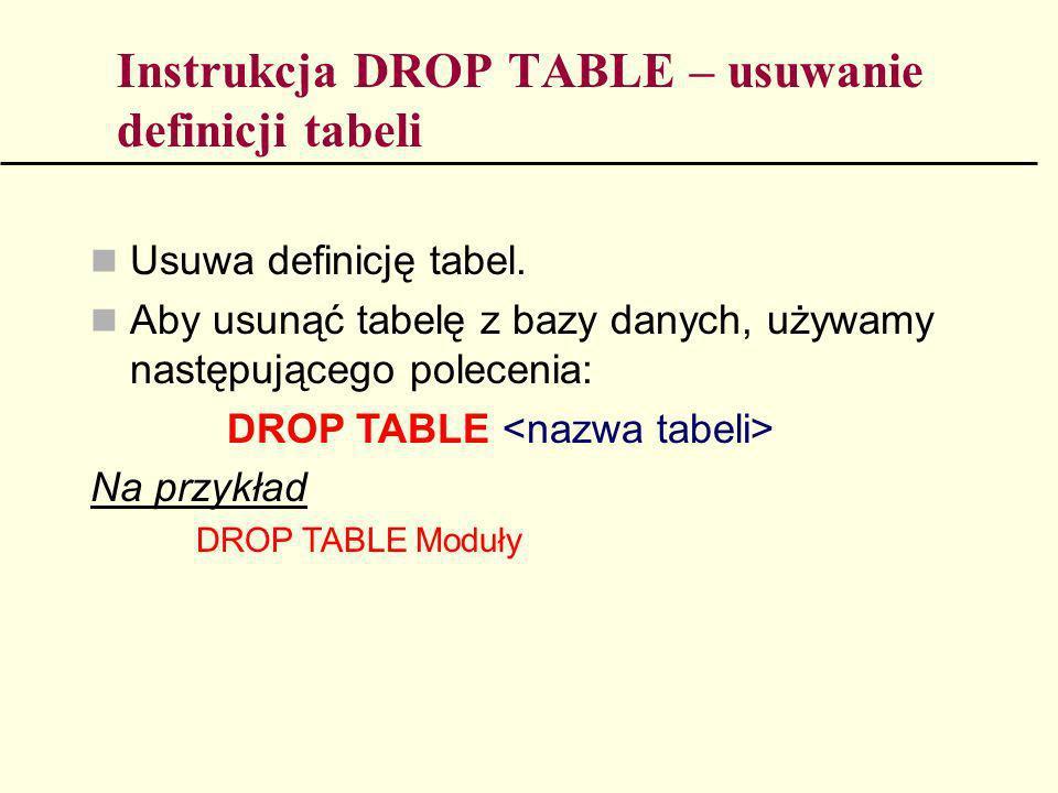 Instrukcja DROP TABLE – usuwanie definicji tabeli