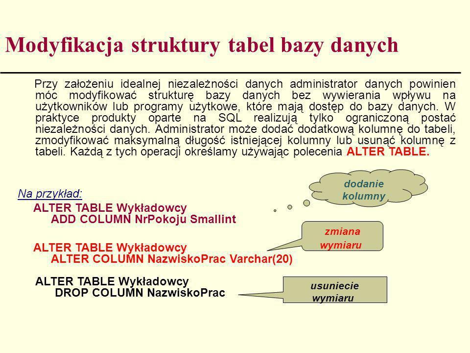 Modyfikacja struktury tabel bazy danych