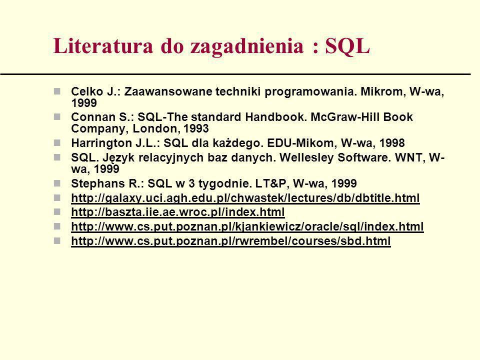 Literatura do zagadnienia : SQL