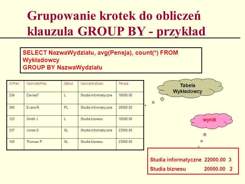 Grupowanie krotek do obliczeń klauzula GROUP BY - przykład