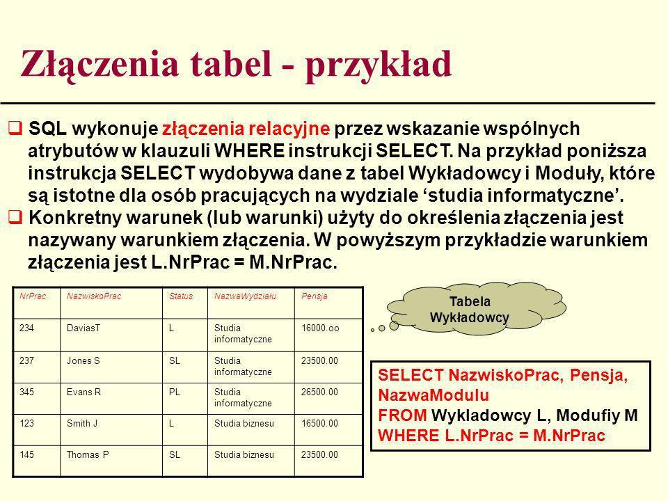 Złączenia tabel - przykład
