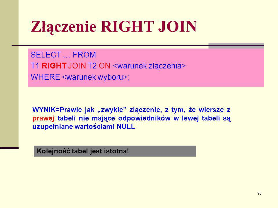 Złączenie RIGHT JOIN SELECT … FROM
