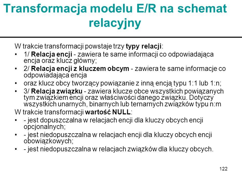 Transformacja modelu E/R na schemat relacyjny