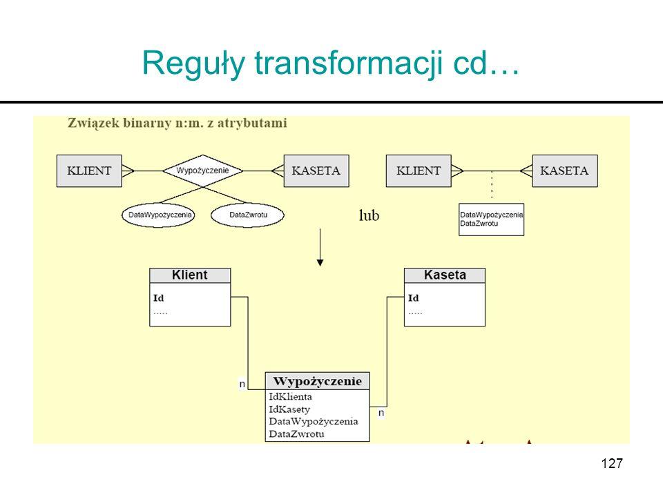 Reguły transformacji cd…