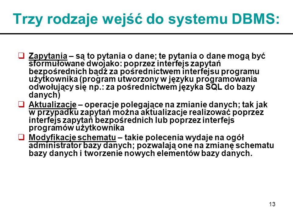 Trzy rodzaje wejść do systemu DBMS: