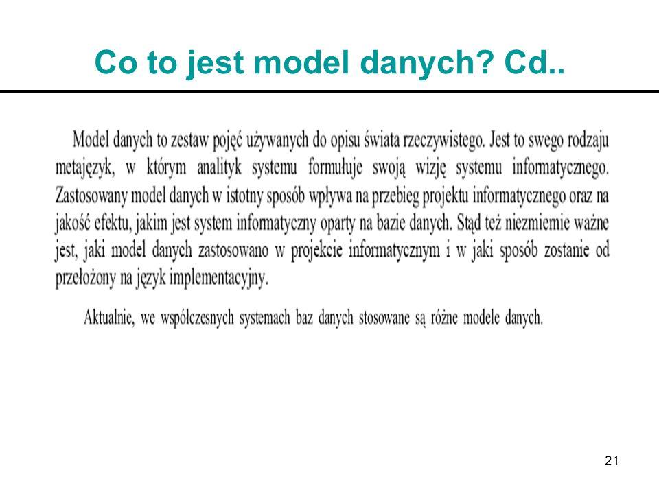 Co to jest model danych Cd..