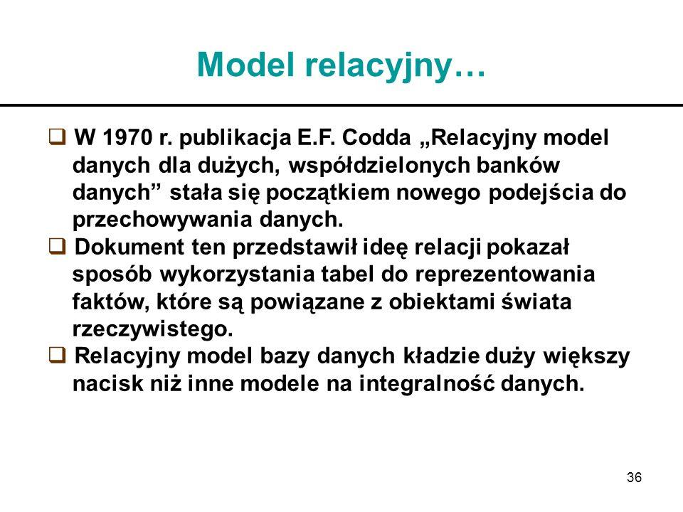 """Model relacyjny… W 1970 r. publikacja E.F. Codda """"Relacyjny model"""