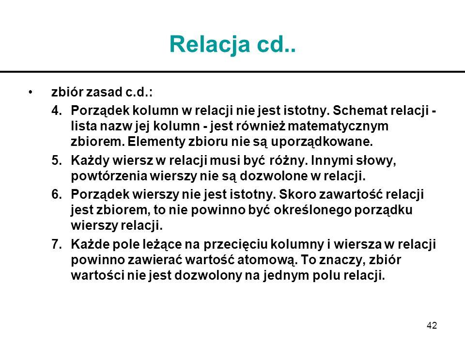Relacja cd.. zbiór zasad c.d.: