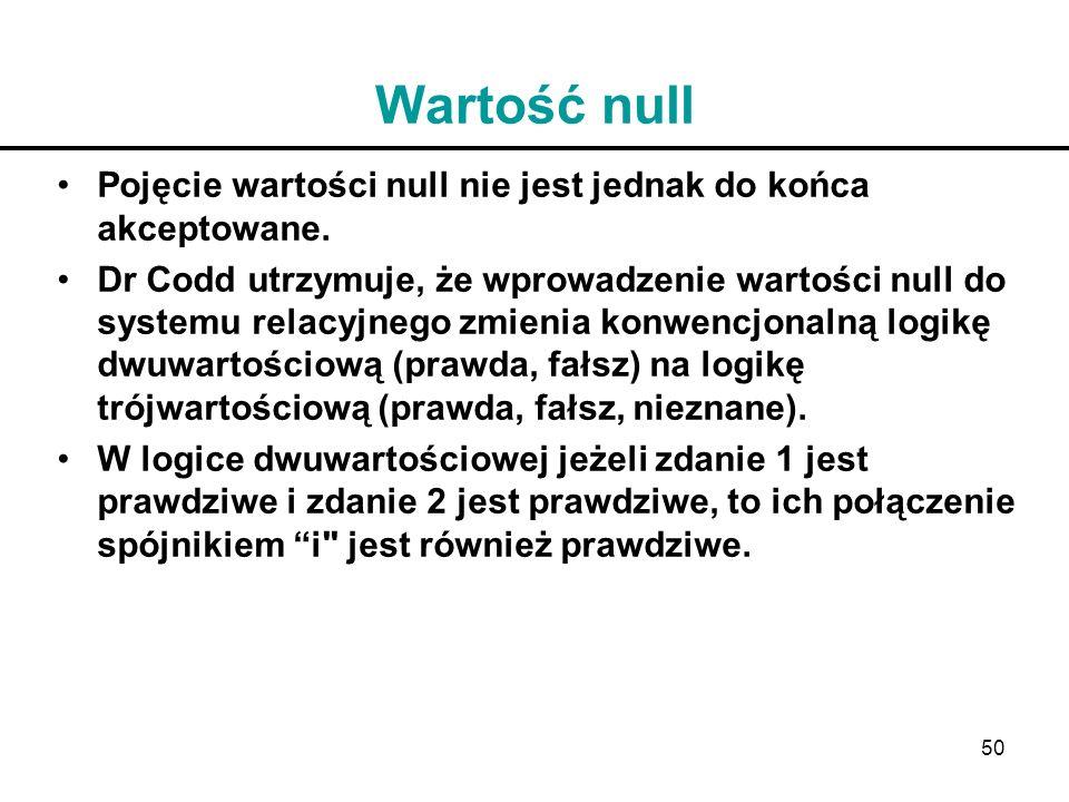 Wartość null Pojęcie wartości null nie jest jednak do końca akceptowane.