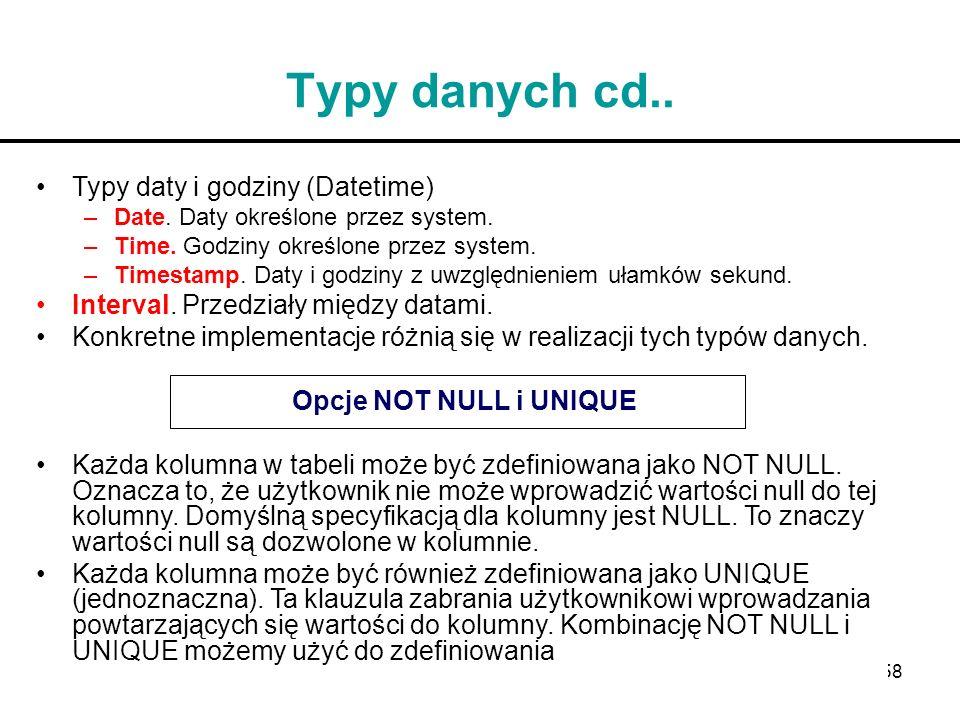 Typy danych cd.. Typy daty i godziny (Datetime)