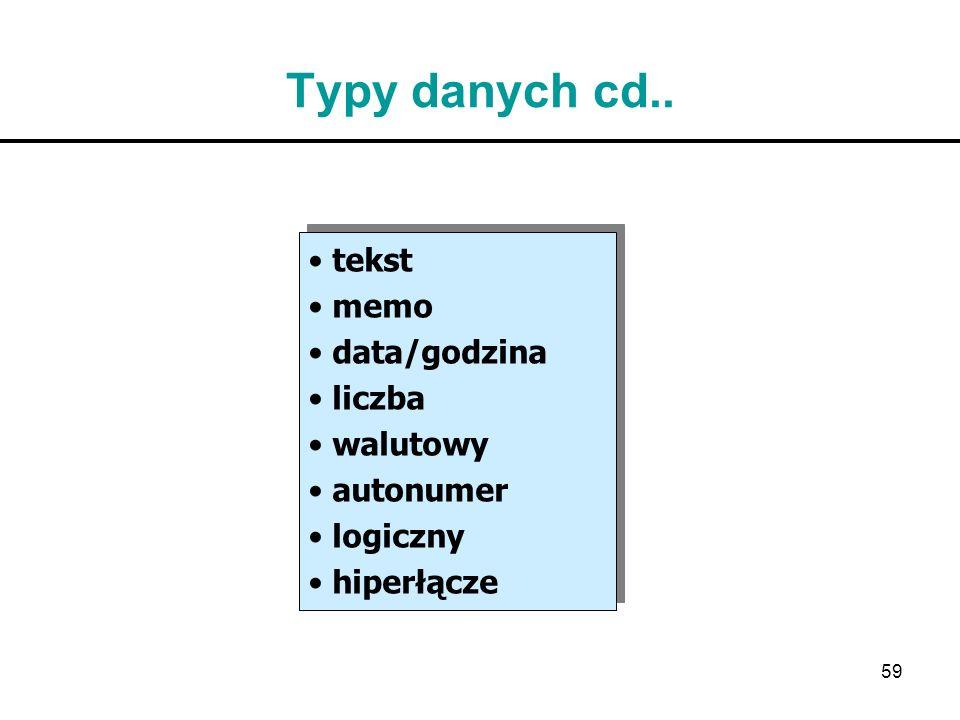 Typy danych cd.. tekst memo data/godzina liczba walutowy autonumer